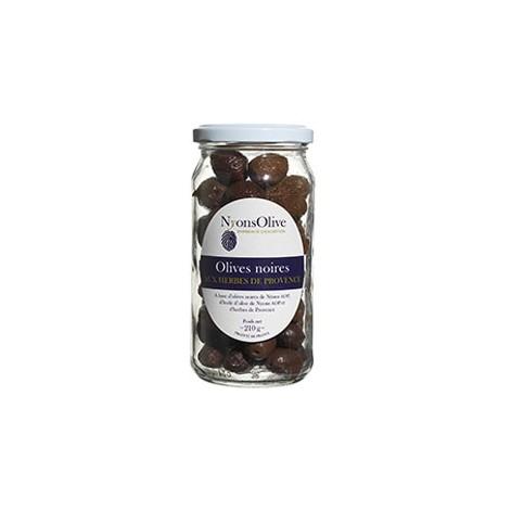 Bocal Olives noires de Nyons AOP aux herbes de Provence 210GR
