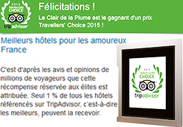 travellers' choice award France clair de la plume hotel restaurant